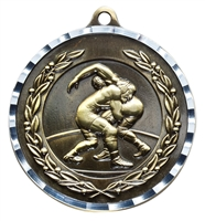 Diamond Cut<BR> Wrestling Medal<BR> Gold/Silver/Bronze<BR> 2 Inches