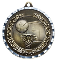Diamond Cut XXL<BR> Basketball Medal<BR> Gold/Silver/Bronze<BR> 2.75 Inches