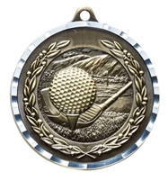 Diamond Cut XXL<BR> Golf Medal<BR> Gold/Silver/Bronze<BR> 2.75 Inches
