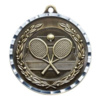 Diamond Cut XXL<BR> Tennis Medal<BR> Gold/Silver/Bronze<BR> 2.75 Inches