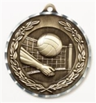 Diamond Cut XXL<BR> Volleyball Medal<BR> Gold/Silver/Bronze<BR> 2.75 Inches