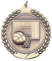 Die Cast XXL<BR> Basketball Medal<BR> Gold/Silver/Bronze<BR> 2.75 Inches