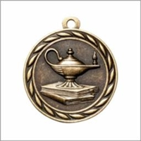 Lamp Medal<BR> Gold/Silver/Bronze<BR> 2 Inches