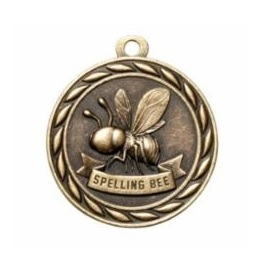 Spelling Bee Medal<BR> Gold/Silver/Bronze<BR> 2 Inches