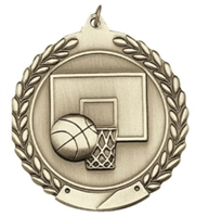 Budget Die Cast<BR> Basketball Medal<BR> Gold/Silver/Bronze<BR> 1.75 Inch