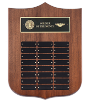 24 Plate<BR> Premium Walnut<BR> Perpetual Shield Plaque<BR> 12x16 Inches