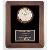Walnut Frame<BR> Black with Gold Clock<BR> 12 Inches x 15 Inches