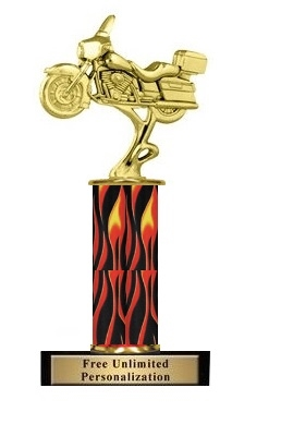 Flame Column<BR> Touring Motorcycle Trophy<BR> 10-12 Inches