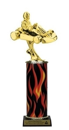 Flame Column<BR> Go Kart Trophy<BR> 10-12 Inches