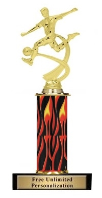 Single Flame Column<BR> Soccer M Motion Trophy<BR> 10-12 Inches