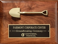 Genuine Walnut Plaque<BR> Premier Corporate<BR> Gold Shovel Cast<BR> 9x12 Inches