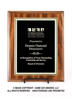 Walnut Finish Plaque<BR> Economy Corporate<BR> Black and Gold<BR> 6x8 to 9x12