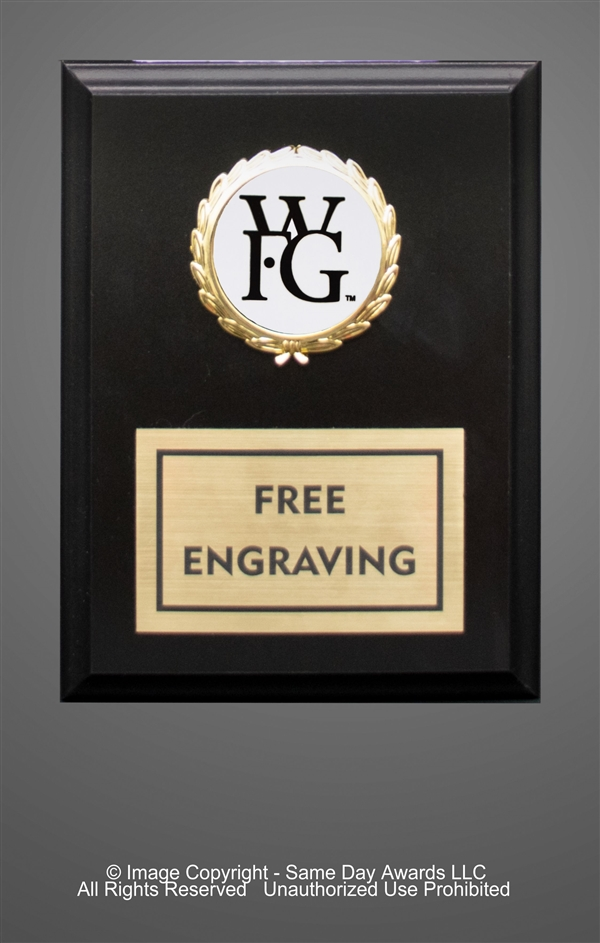 Ebony Plaque<BR> WFG<BR> 5x7 to 7x9 Inches