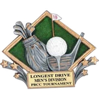 3-D Diamond<BR> Golf Trophy<BR> 6 Inches