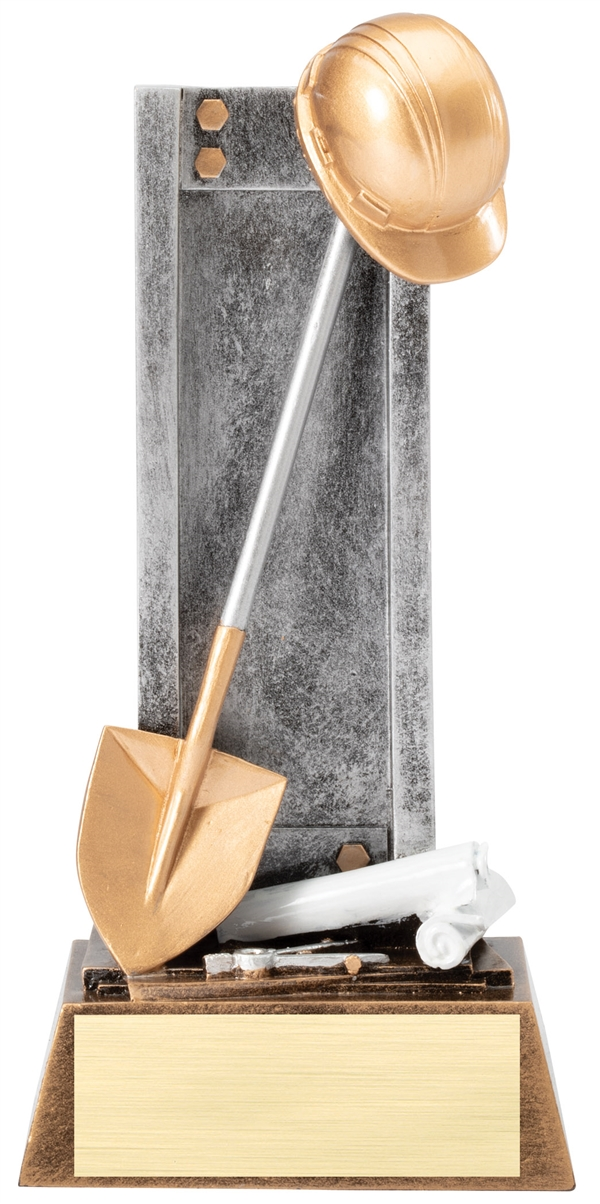 Shovel & Helmet Trophy<BR> 8 Inches