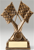 Cross Checkered Flags Trophy<BR> 7 Inches