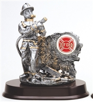 Silver Action<BR> Firefighter Trophy<BR> Your Custom Logo<BR> 9 Inches