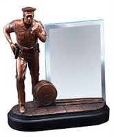 Premium Bronze<BR> Police Officer Trophy<BR> 8 Inches<BR> 4x6 Inch Glass