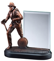 Premium Bronze<BR> Firefighter Trophy<BR> 8 Inches<BR> 4x6 Inch Glass