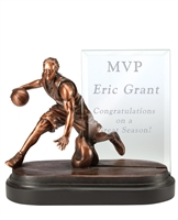 Baseketball Award With Engraved Glass