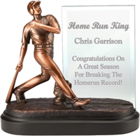 Premium Bronze<BR> Baseball Trophy<BR> 7.25 Inches<BR> 4x6 Inch Glass