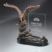Bronze Landing<BR> Eagle Trophy w/ Glass<BR> 10 Inches