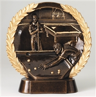 Resin High Relief<BR> Billiards Trophy<BR> 7.5 Inches