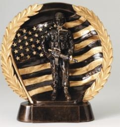 Resin High Relief<BR> Military Trophy<BR> 7.5 Inches