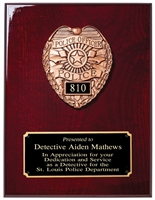 Police Badge Cast<BR> Rosewood Plaque<BR> 9x12 Inches