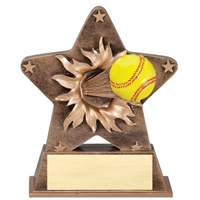 Starburst Softball Trophy<BR> 5.5 Inches