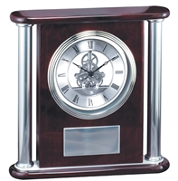 CEO Rosewood<BR> Silver Skeleton Clock<BR> 11.5 Inches