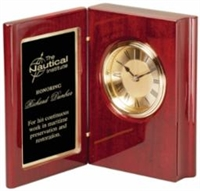 Rosewood Premier<BR> Book Clock<BR> 7.5 Inches