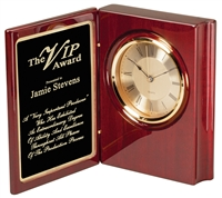 XXL Rosewood Premier<BR> Book Clock<BR> 9 Inches
