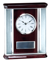 Silver Rosewood<BR> Chairman Clock<BR> 9 Inches