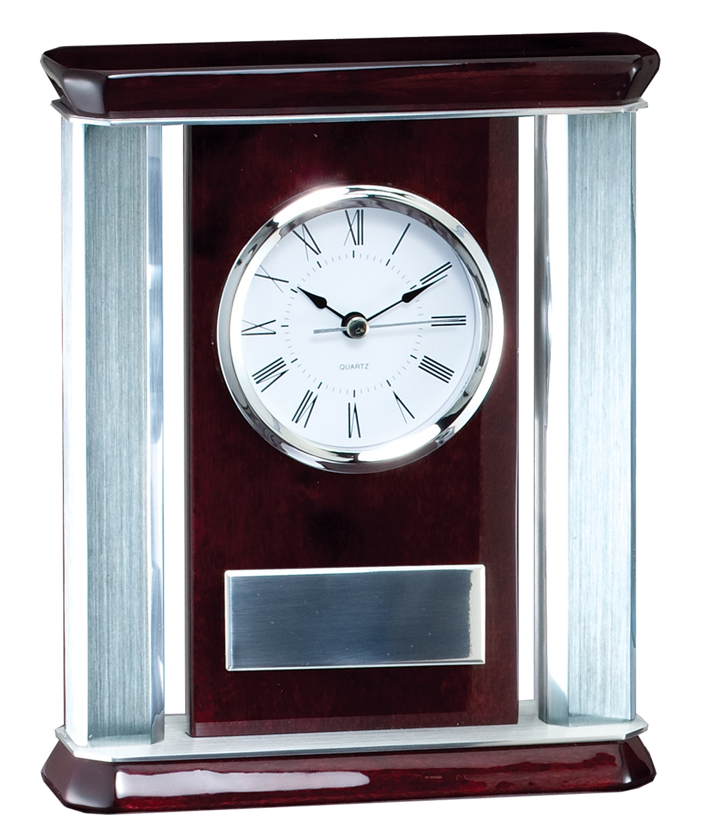 c0dab3ea87fa4 Silver Rosewood<BR> Chairman Clock<BR> 9 Inches