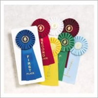 "Rosette Ribbons<BR> 1st-6th Place<BR> Honorable Mention<BR> 4.5""x11"""