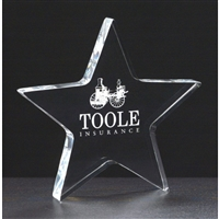 Clear Star<BR> Acrylic Paperweight<BR> 5 Inches