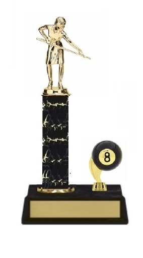 Single Column - 8 Ball Trim<BR> F Billiards Trophy<BR> 10-12 Inches<BR> 10 Colors
