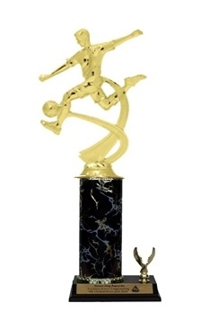 Single Column - 1 Trim<BR> M Motion Soccer Trophy<BR> 10-12 Inches<BR> 9 Colors