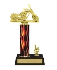 Single Flame Column<BR>1 Side Trim<BR> Chopper Motorcycle Trophy<BR> 10-12 Inches