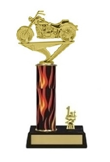 Single Flame Column<BR>1 Side Trim<BR> Soft Tail Motorcycle Trophy<BR> 10-12 Inches
