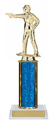Single Column<BR> Civilian Pistol Trophy<BR> 10-12 Inches<BR> 9 Colors