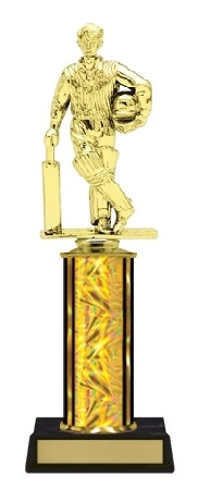 Single Column<BR> Standing Cricket Batsman Trophy<BR> 10-12 Inches<BR> 10 Colors