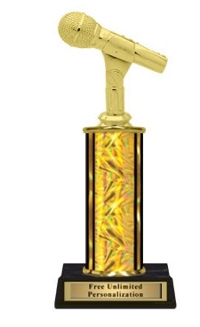 Single Column<BR> Microphone Trophy<BR> 10-12 Inches<BR> 9 Colors