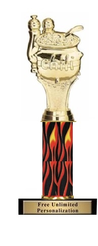 Single Flame Column<BR> Chili Cook Off Trophy<BR> 10-12 Inches