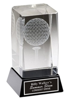 Golf Ball & Tee <BR>Crystal Trophy<BR> 4 & 4.75 Inches