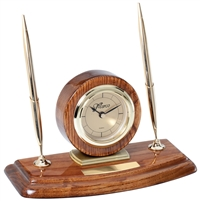Walnut CEO<BR> Premier Clock & Pen Set