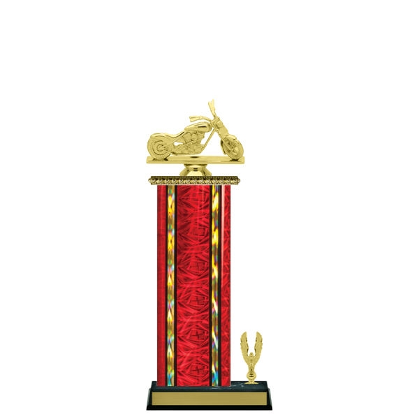 Wide Column with Trim<BR> Chopper Motorcycle Trophy<BR> 12-14 Inches<BR> 10 Colors