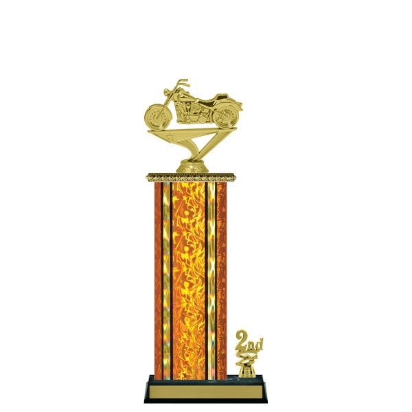Wide Column with Trim<BR> Soft Tail Motorcycle Trophy<BR> 12-14 Inches<BR> 10 Colors