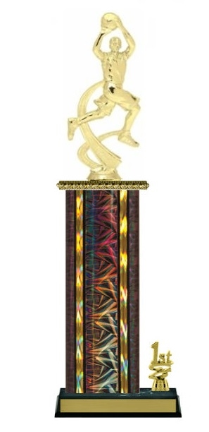 Wide Column with Trim<BR> M Motion Basketball Trophy<BR> 12-14 Inches<BR> 10 Colors